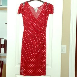 Red & White Cold Shoulder Faux Wrap Dress Size 8